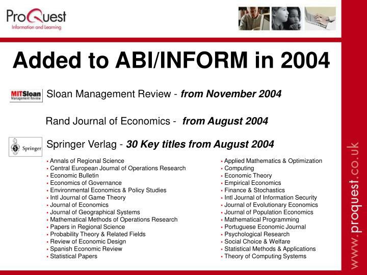 Added to ABI/INFORM in 2004
