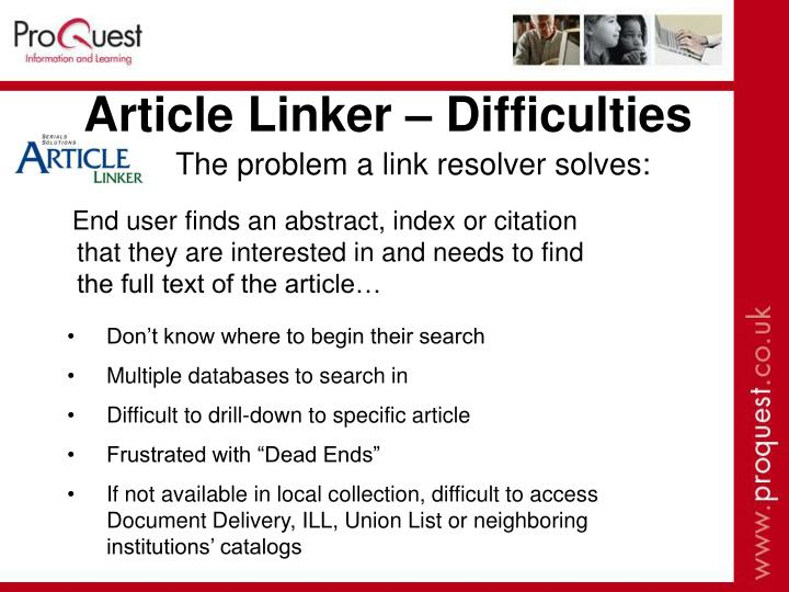 Article Linker – Difficulties