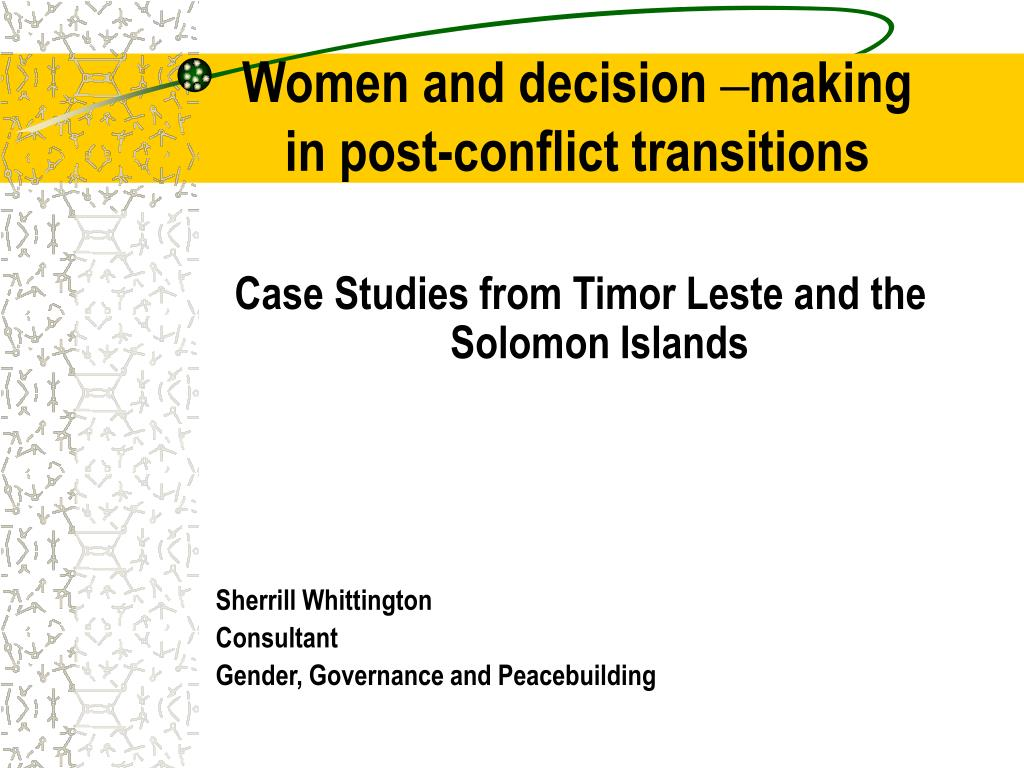 women and decision making in post conflict transitions