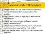 women in post conflict elections