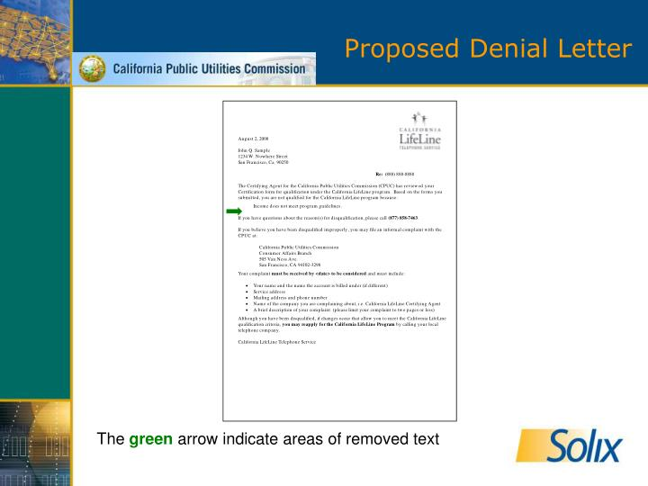 Proposed Denial Letter
