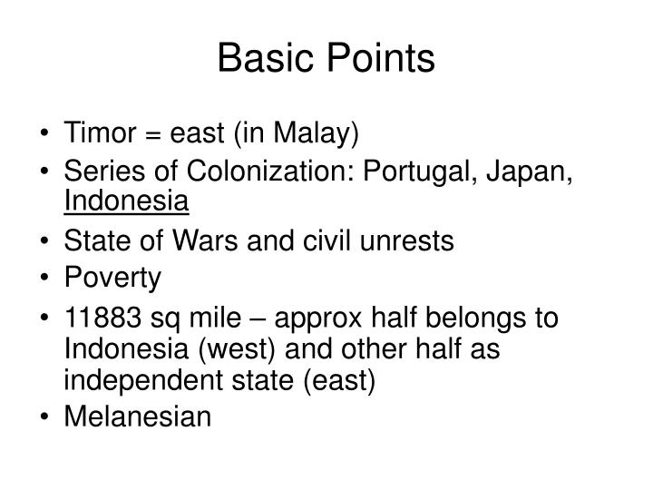 Basic points