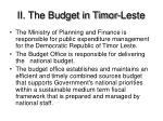 ii the budget in timor leste