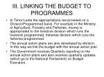 iii linking the budget to programmes