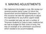 v making adjustments