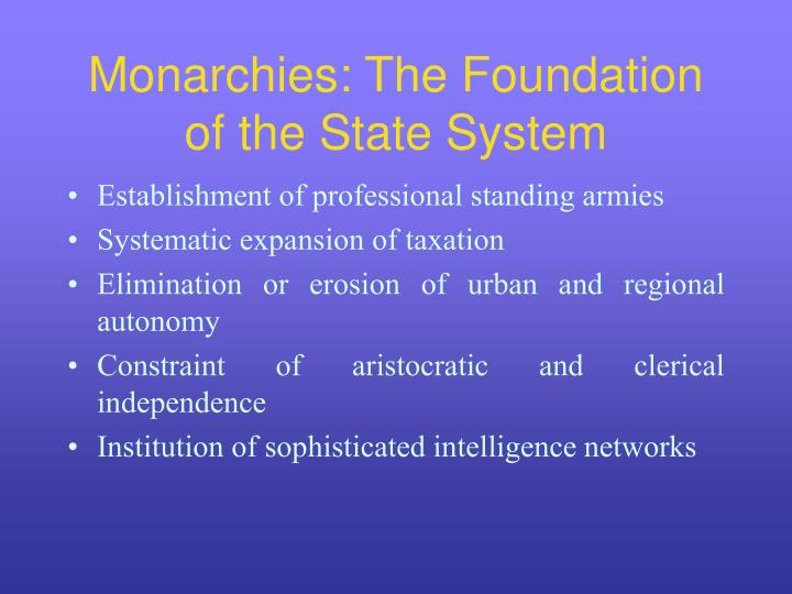 Monarchies: The Foundation of the State System