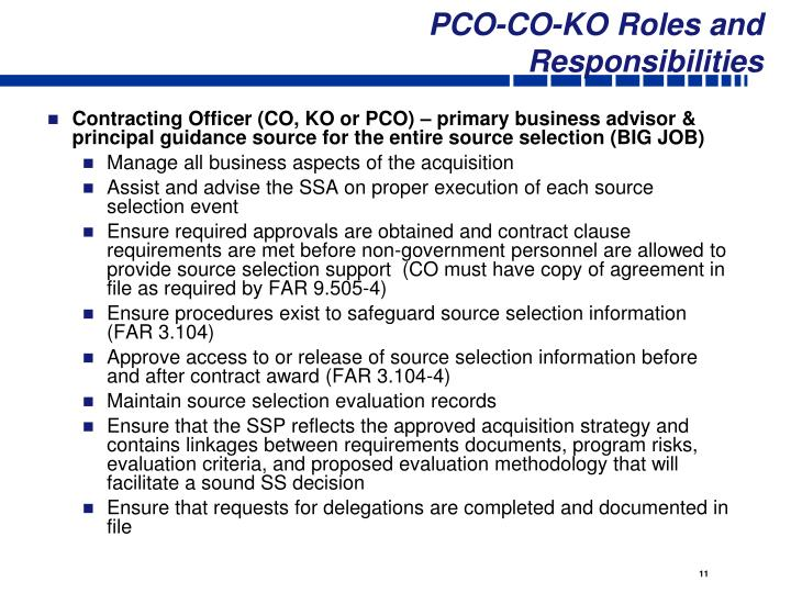 PCO-CO-KO Roles and