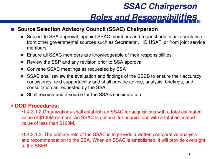 SSAC Chairperson