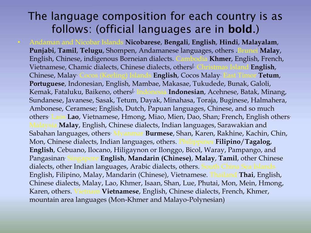 The language composition for each country is as follows: (official languages are in