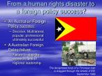 from a human rights disaster to a foreign policy success