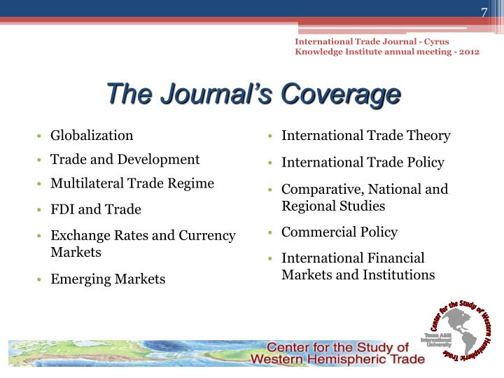 International Trade Journal - Cyrus Knowledge Institute annual meeting - 2012