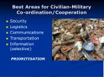 best areas for civilian military co ordination cooperation