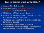 can militaries work with ngos