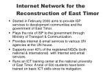 internet network for the reconstruction of east timor