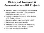 ministry of transport communications ict project