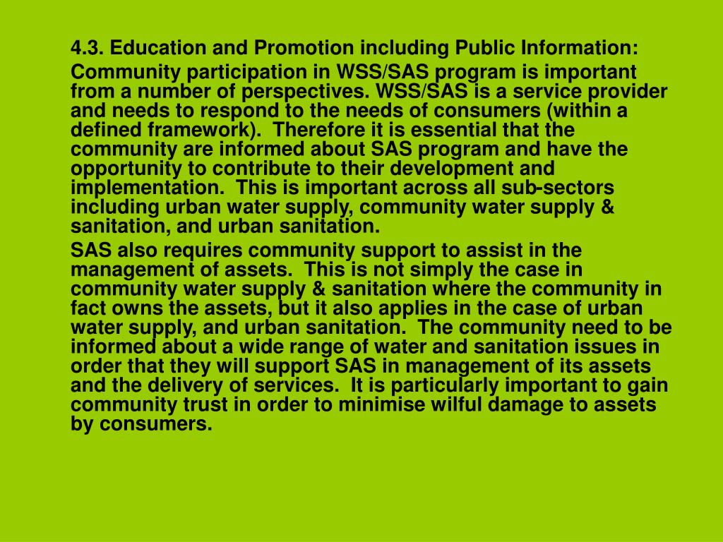 4.3. Education and Promotion including Public Information:
