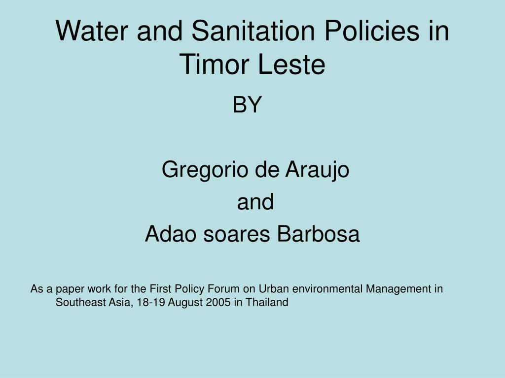 water and sanitation policies in timor leste l.