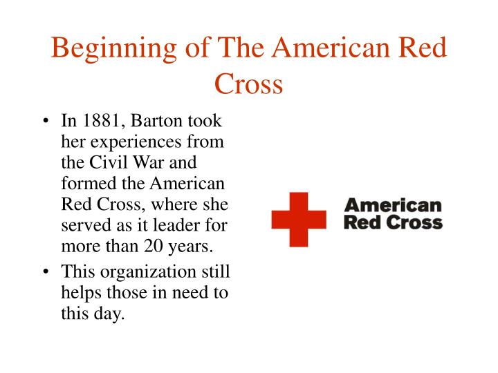 Beginning of The American Red Cross