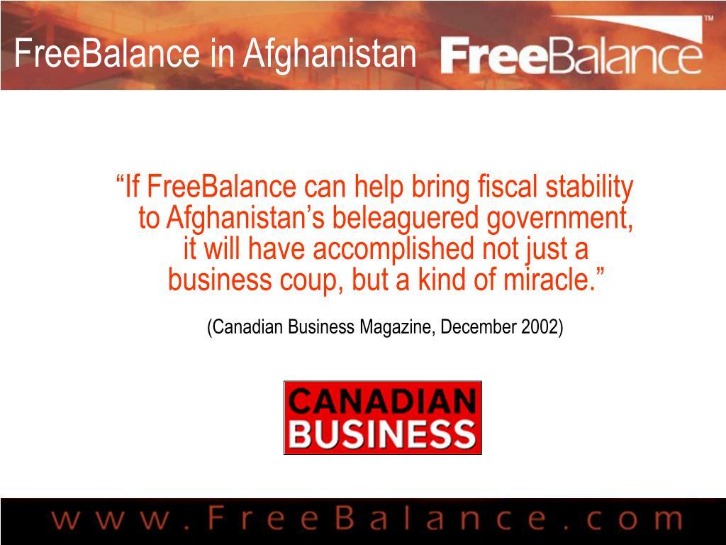 FreeBalance in Afghanistan