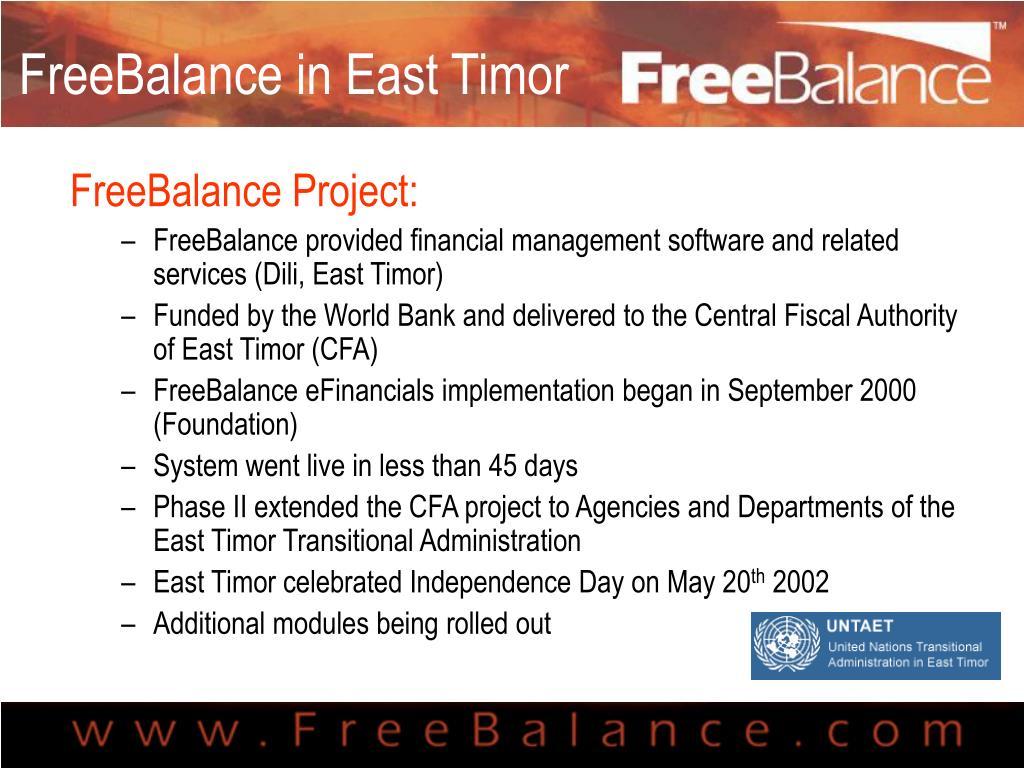 FreeBalance in East Timor