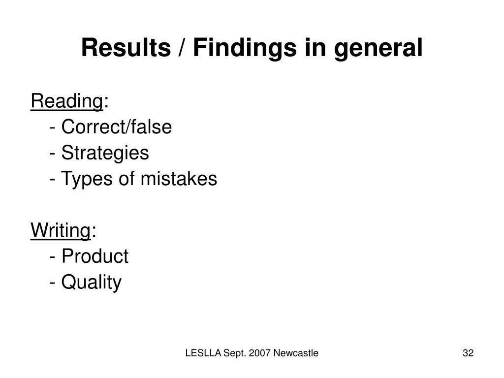 Results / Findings in general