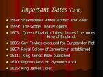 important dates cont