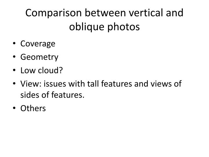 Comparison between vertical and oblique photos