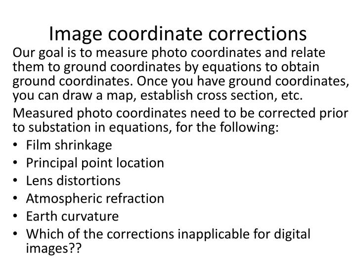Image coordinate corrections