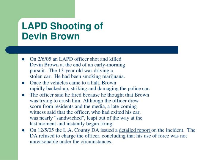 Lapd shooting of devin brown