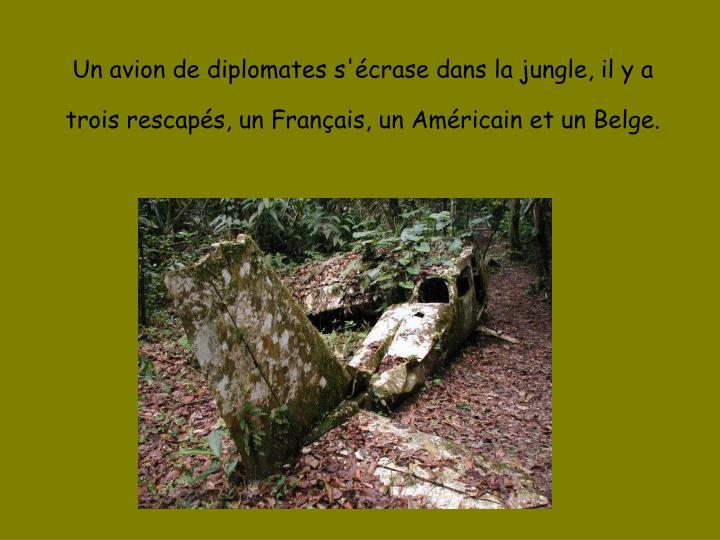 Un avion de diplomates s'écrase dans la jungle, il y a trois rescapés, un Français, un Américain...