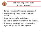 pre planning saves lives lessons learned