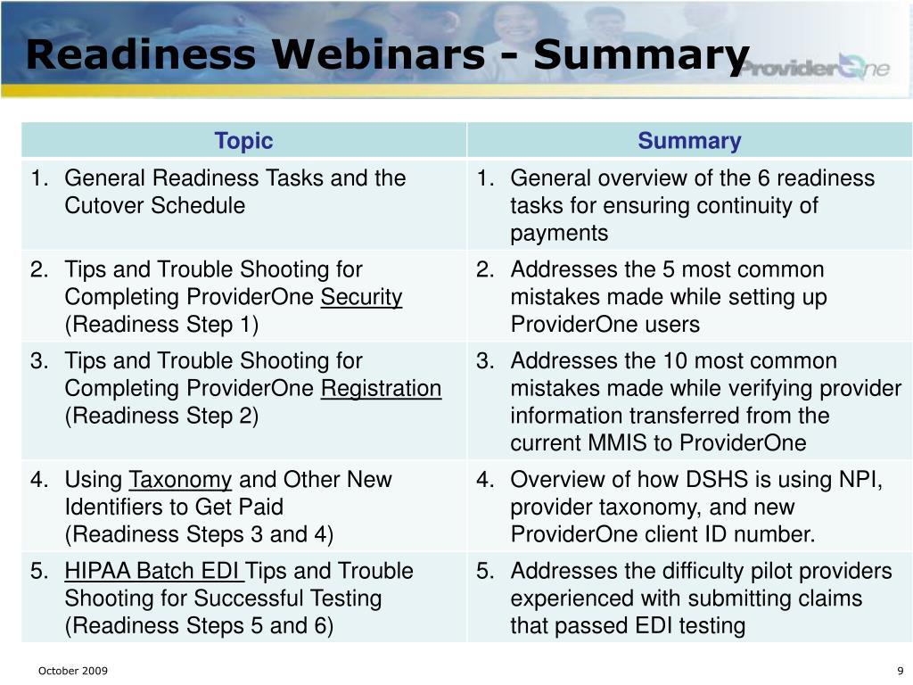Readiness Webinars - Summary
