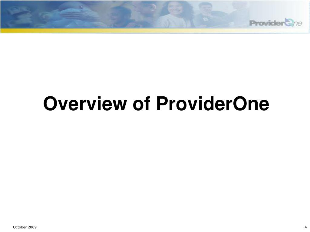 Overview of ProviderOne