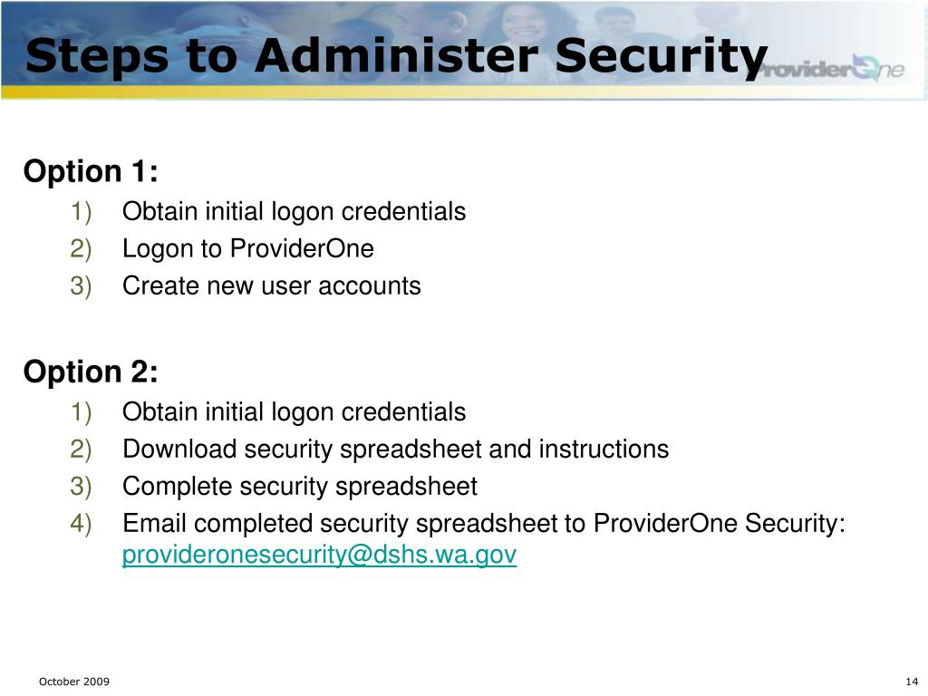 Steps to Administer Security