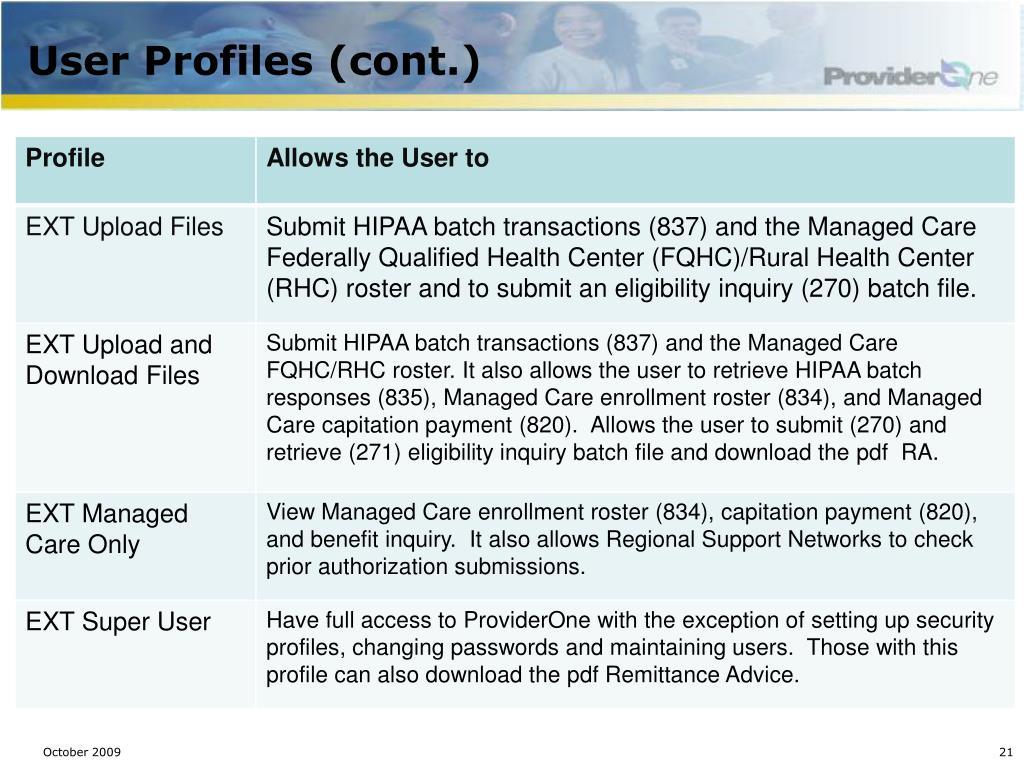 User Profiles (cont.)