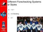 different forechecking systems or styles10