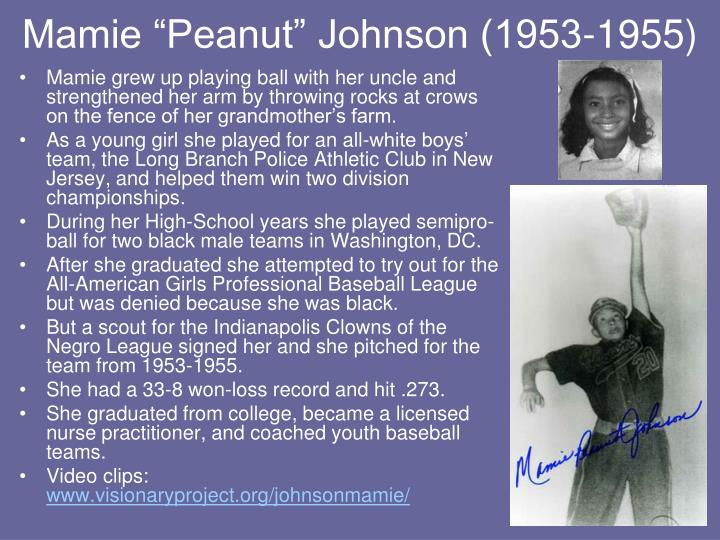 "Mamie ""Peanut"" Johnson (1953-1955)"