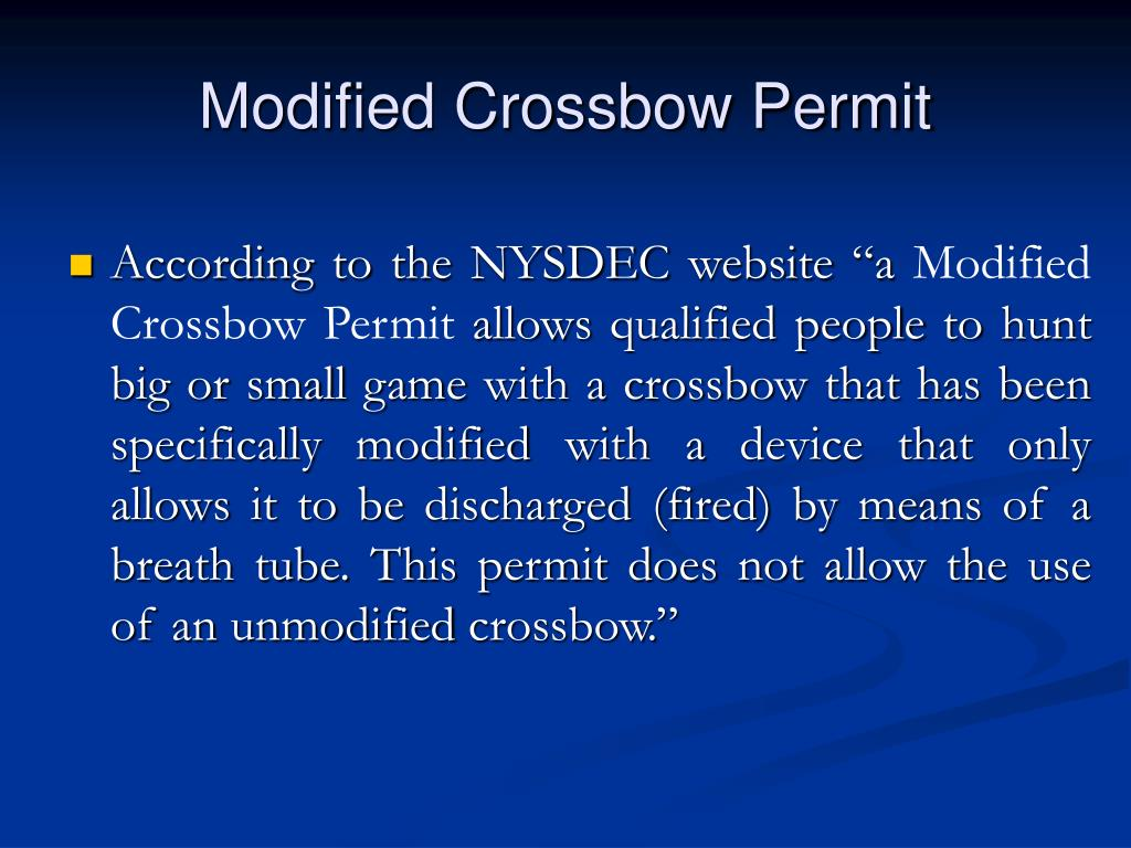 Modified Crossbow Permit