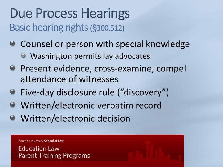 Due Process Hearings