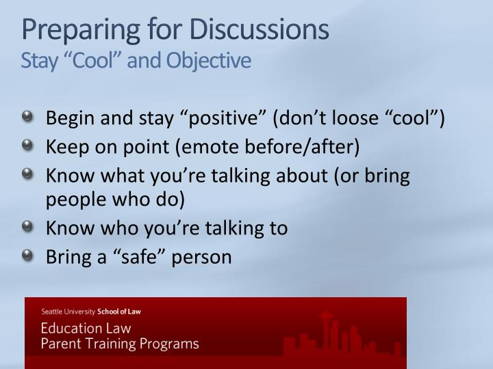 Preparing for Discussions