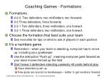 coaching games formations