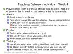 teaching defense individual week 4