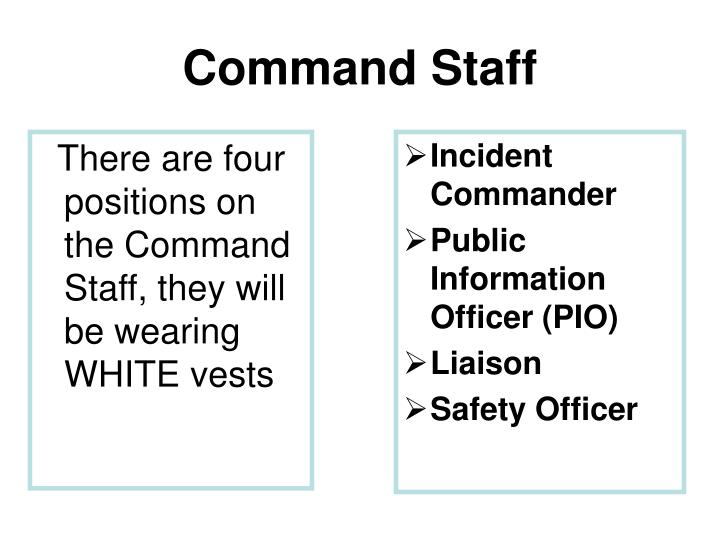 There are four positions on the Command Staff, they will be wearing WHITE vests