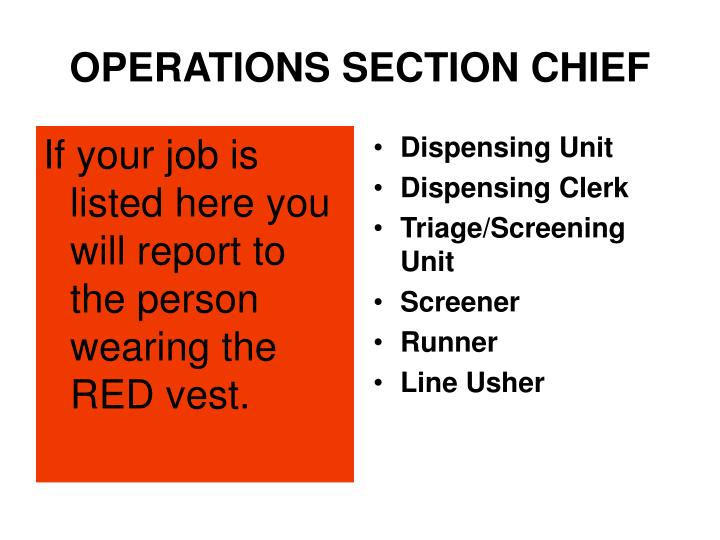If your job is listed here you will report to the person wearing the RED vest.