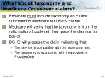 what about taxonomy and medicare crossover claims