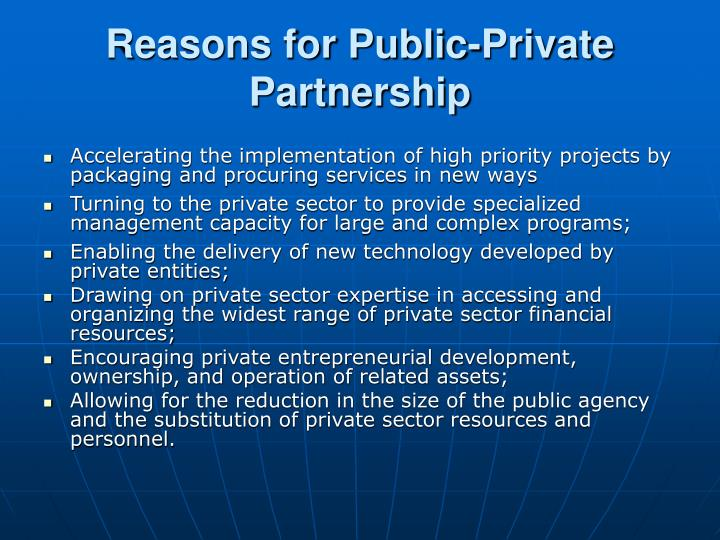 Reasons for public private partnership