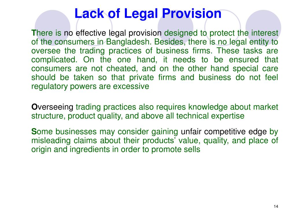 Lack of Legal Provision
