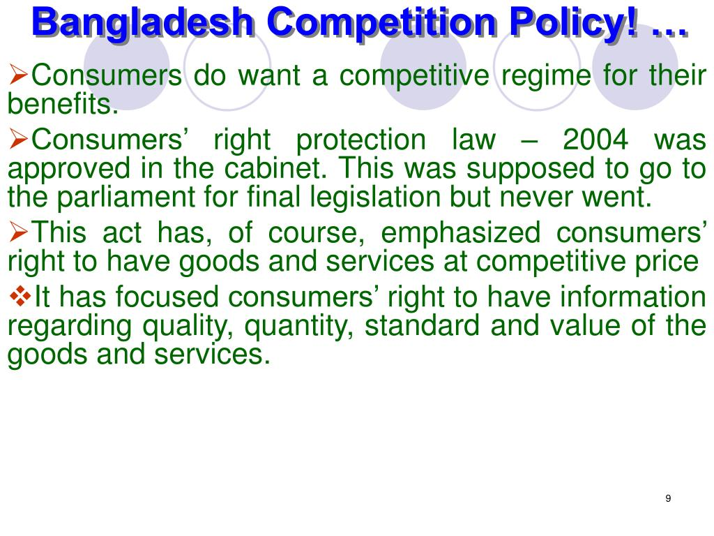 Bangladesh Competition Policy! …