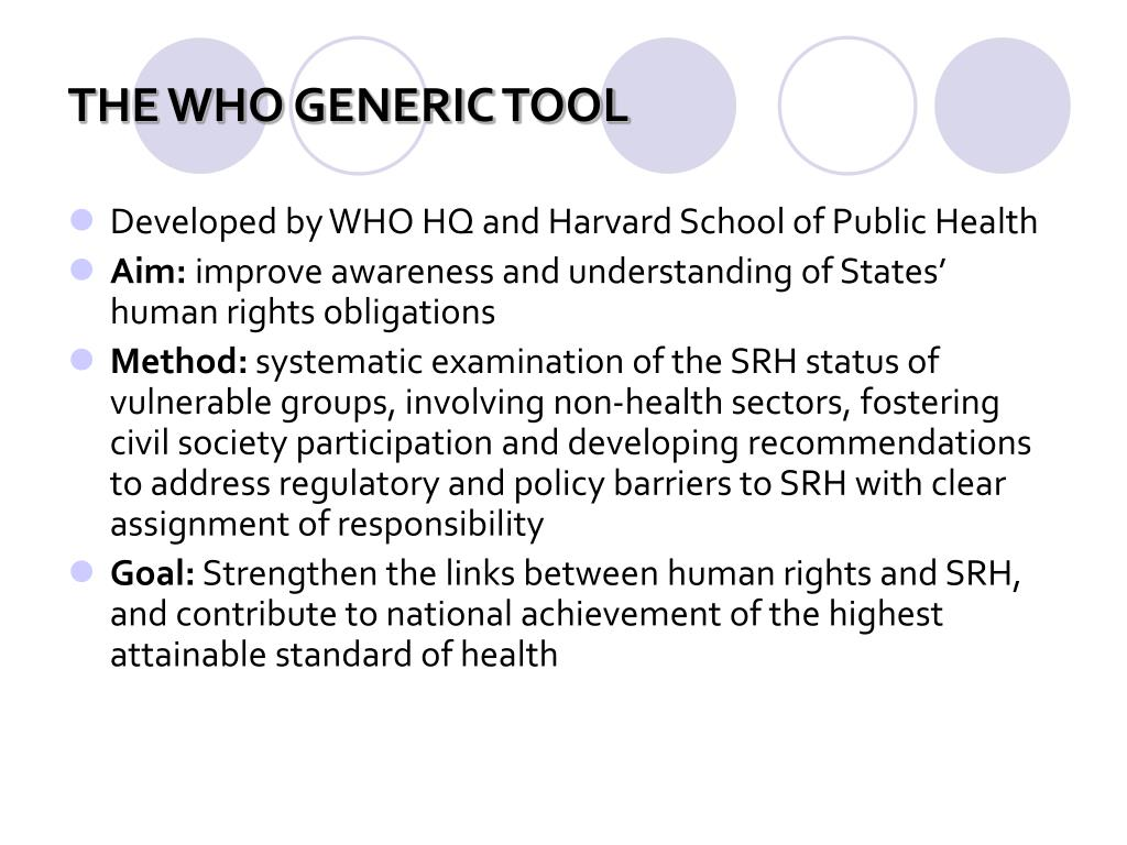 THE WHO GENERIC TOOL