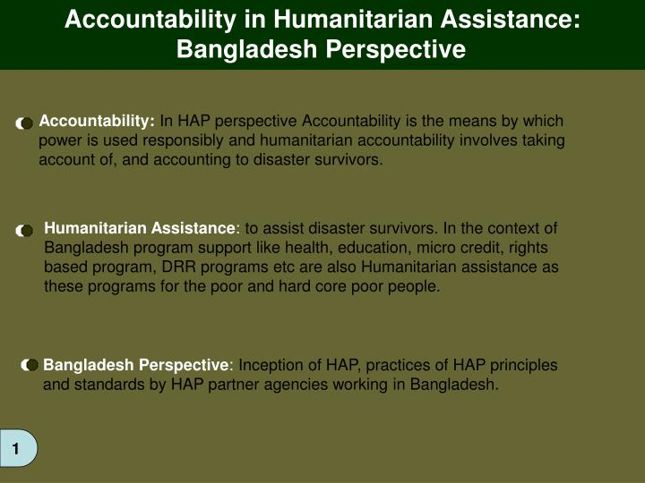 Accountability in Humanitarian Assistance: